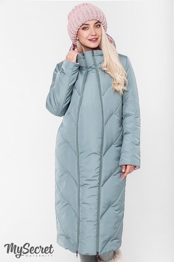 Стильное пальто, куртка для беременных, розовый/оливка фото №3
