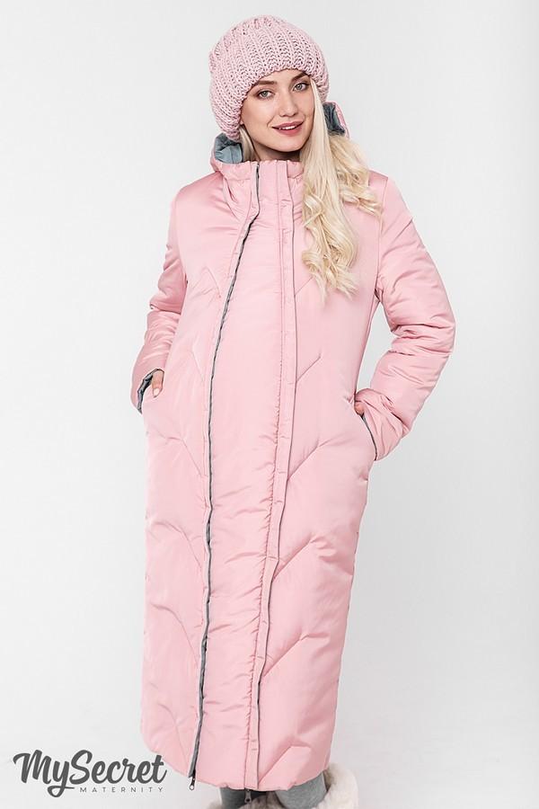 Стильное пальто, куртка для беременных, розовый/оливка фото №4