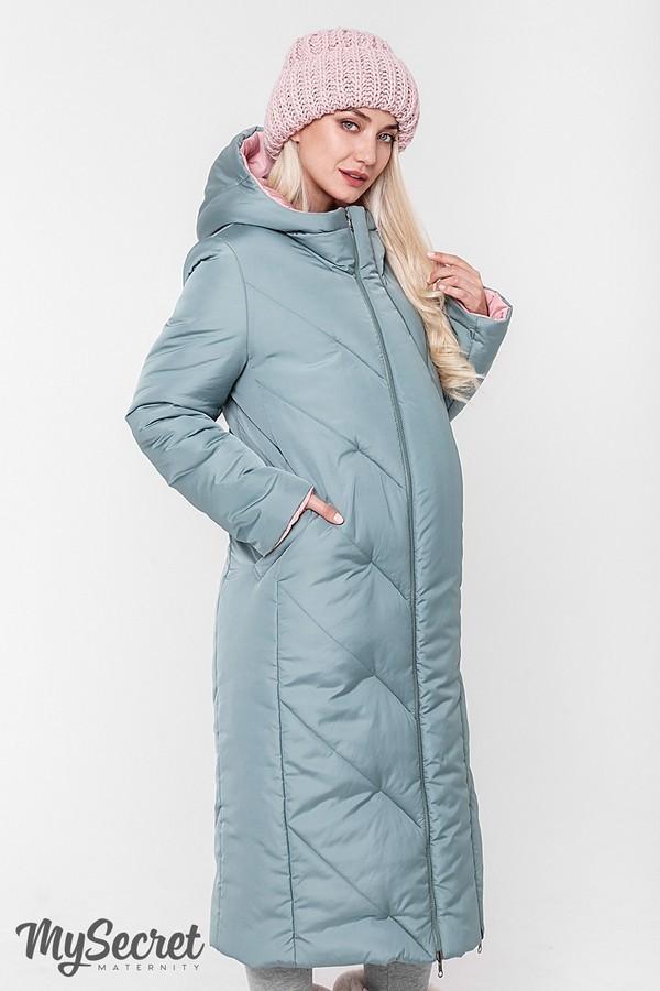 Стильное пальто, куртка для беременных, розовый/оливка фото №5