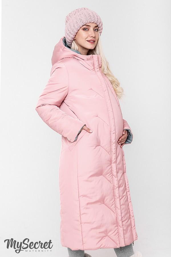 Стильное пальто, куртка для беременных, розовый/оливка фото №6