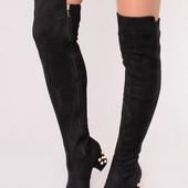 Женские демисезонные ботфорты на низком каблуке
