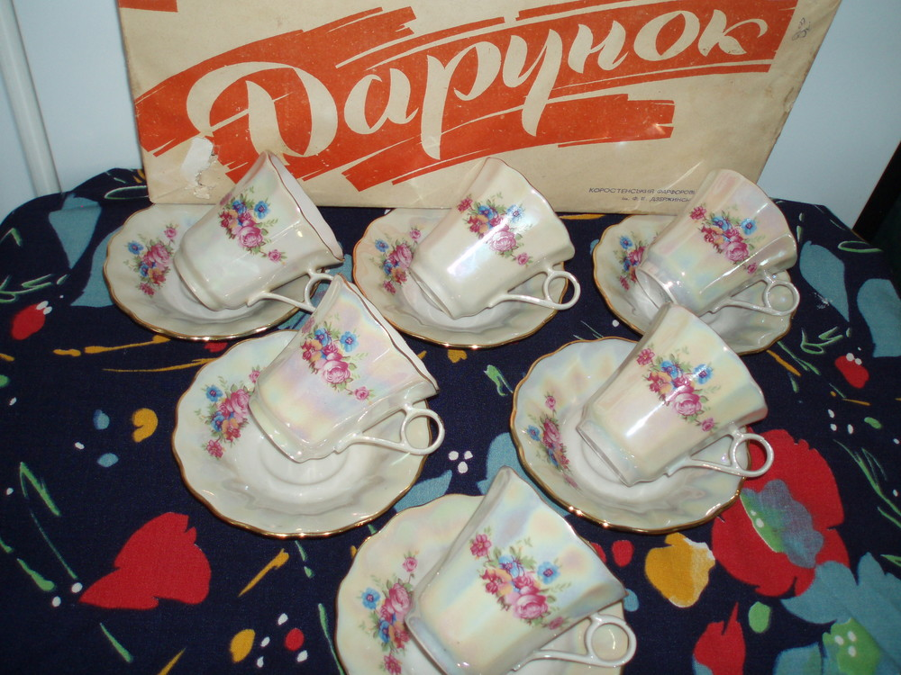 6 новых фарфоровых кофейных пар 1985 г, сделано в украине,коростень фото №1