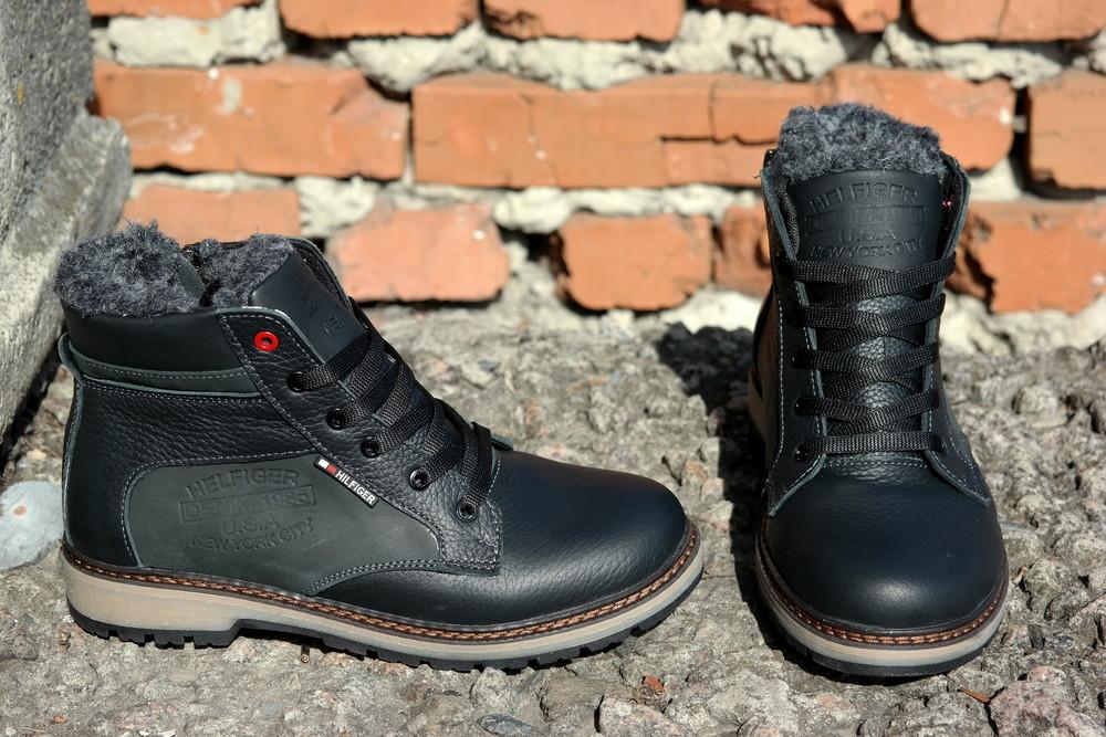 Подростковые зимние кожаные ботинки , густой мех, молния и толстая кожа. в наличии фото №9