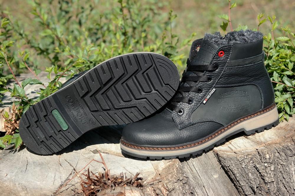 Подростковые зимние кожаные ботинки , густой мех, молния и толстая кожа. в наличии фото №12