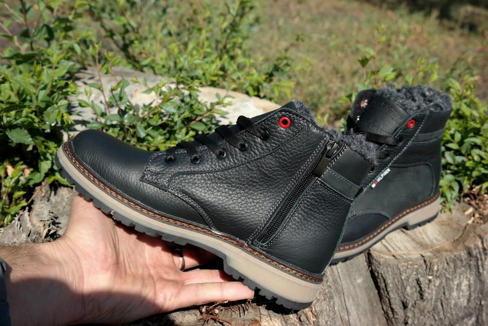 Подростковые зимние кожаные ботинки , густой мех, молния и толстая кожа. в наличии фото №15