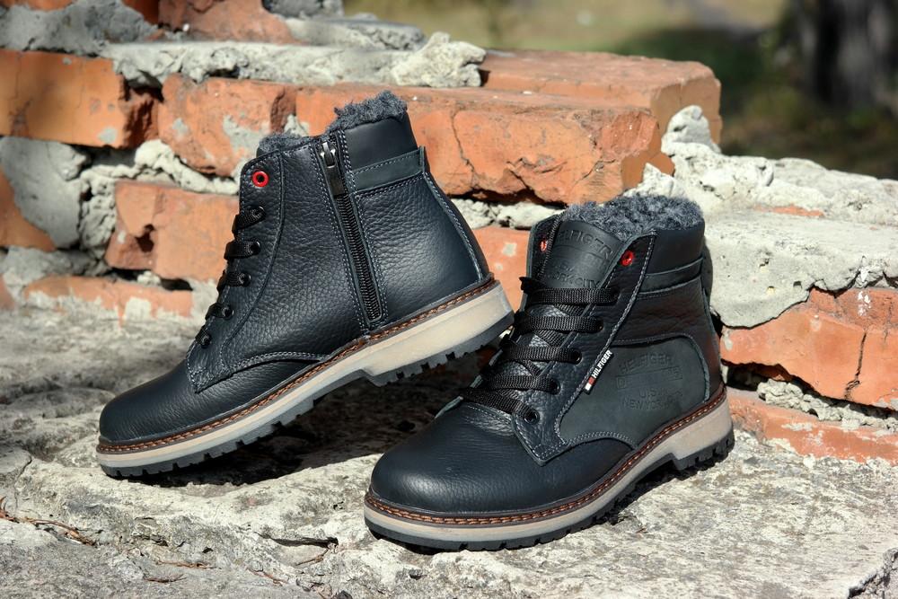 Подростковые зимние кожаные ботинки , густой мех, молния и толстая кожа. в наличии фото №3
