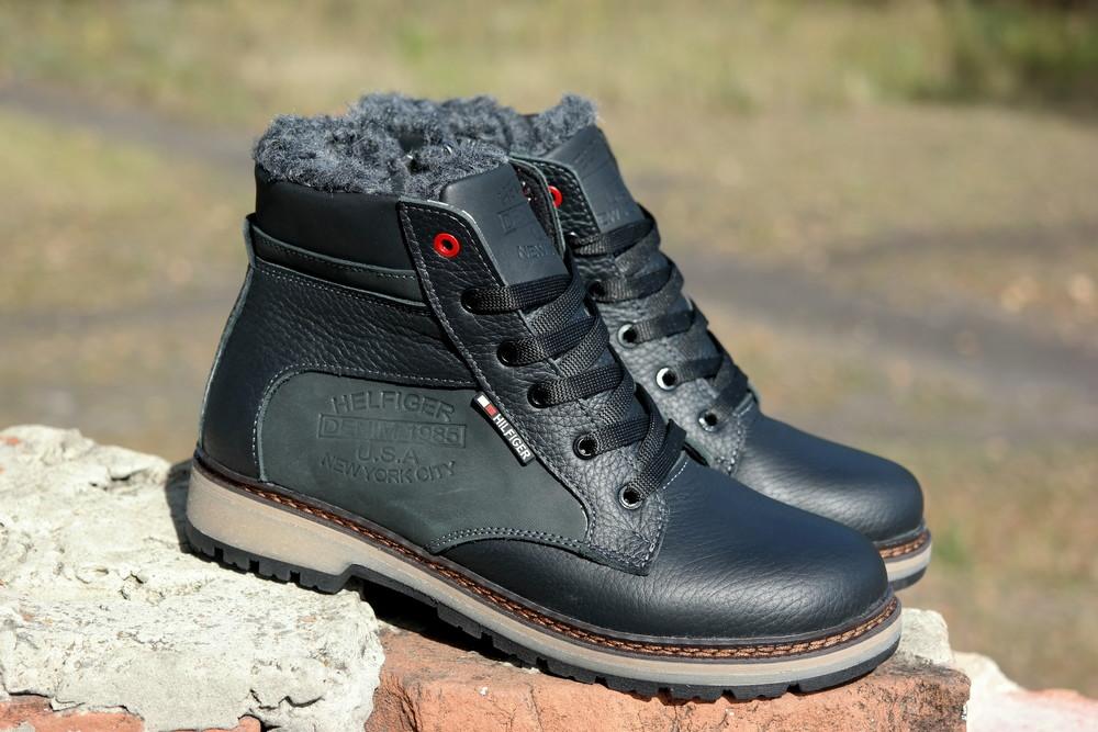Подростковые зимние кожаные ботинки , густой мех, молния и толстая кожа. в наличии фото №5
