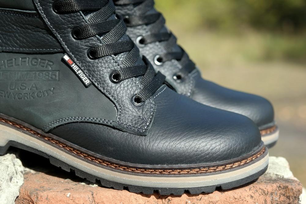 Подростковые зимние кожаные ботинки , густой мех, молния и толстая кожа. в наличии фото №6
