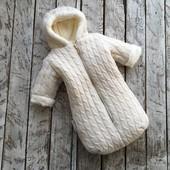 Зимний конверт комбинезон для новорожденного , теплый , вязаный , зима , утепленный , махра