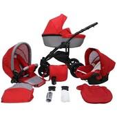 Детская коляска 2 в 1 Mikrus Avinion 06 графитовая с красным