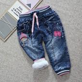 Теплые джинсы на махре. для девочки 2-4лет