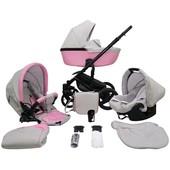 Детская коляска 2 в 1 Mikrus Genua 05 розовая с серым