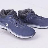 Мужские кожаные спортивные ботинки, зима, синие