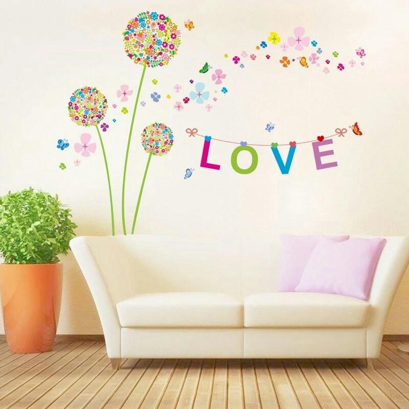 """Наклейка на стену """"цветки-одуванчики"""" фото №1"""