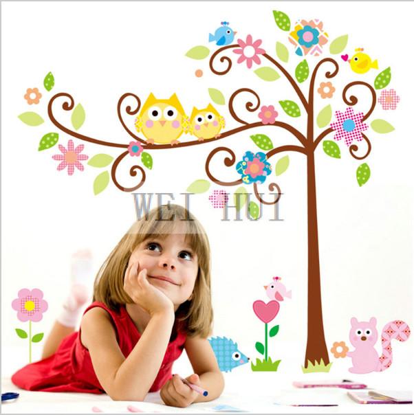 Интерьерная виниловая наклейка дерево с совами, фото №1