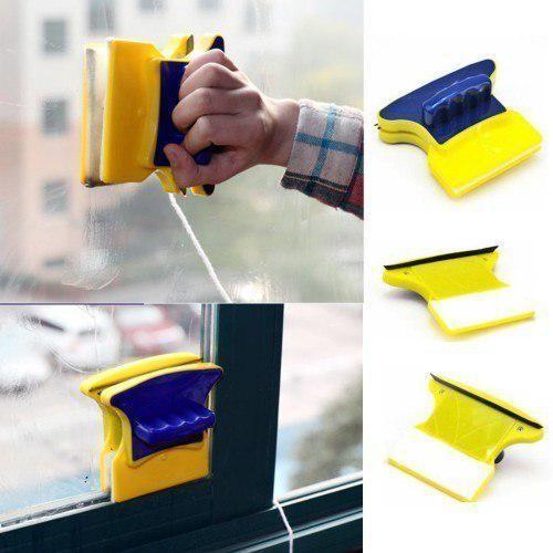 Магнитная щетка для мытья окон с двух сторон glass wiper фото №1
