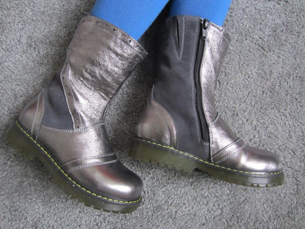 Sale серебристые кожаные сапожки на нат. меху 29-31 р качество супер! фото №1