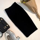 12 uk  женская черная юбка миди стрейчевая