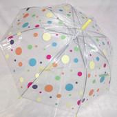 Прозрачный нежный подростковый зонт трость для девочки 8-13 лет