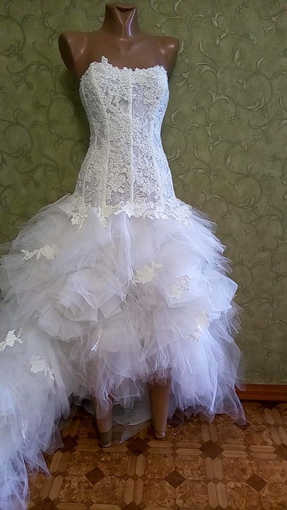 Шикарное свадебное платье с шлейфом и коротким передом,размер 40 s замеры по запросу фото №1