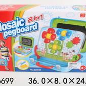 Мозаика с крупными фишками + доска для рисования в чемодане