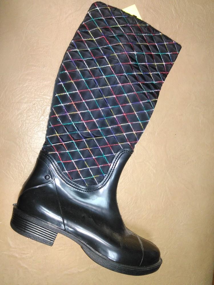 Утепленные резиновые сапоги 37-40 р. женские гумові, чоботи, непромокаемые, зимние, деми, флисе фото №1