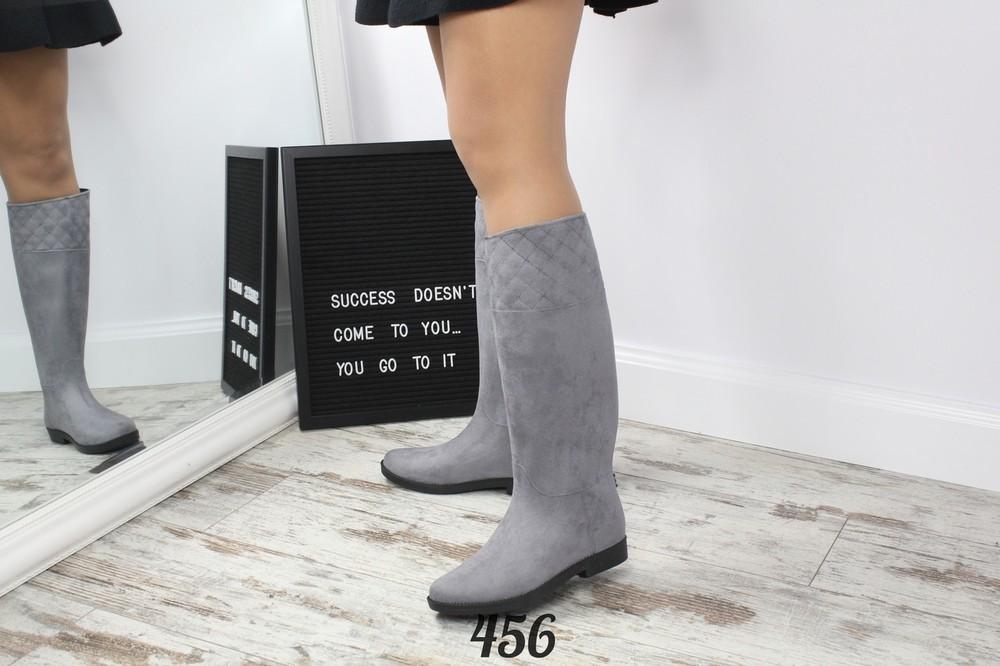 Код р455 черный, р456 серый сапожки-трубы резиновые фото №10