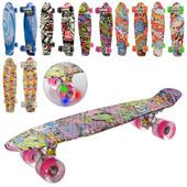 Скейт пенні, алюм. підвіска, колеса ПУ світло, підш., мікс видів. Артикул:MS 0748-3
