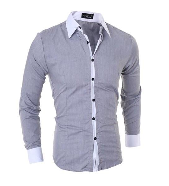 Рубашка мужская vska с контрастным воротом и манжетами код 80 фото №1