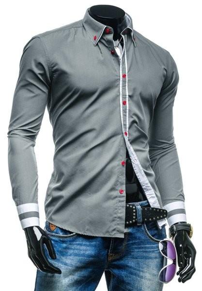 Рубашка мужская модная приталенная код 77 (серая) фото №1