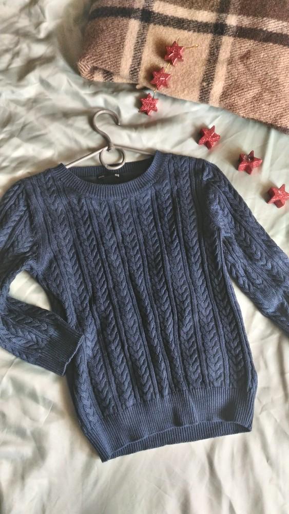 Теплый свитерок в косы h&m, р-р xs фото №1