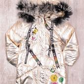 Цвет золото, металик, серебро! зимняя курточка для девочки, новинка 2019года 4-11 лет рост