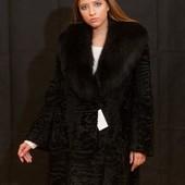 Шуба- пальто италия шикарная каракульча и финский песец 46-48-50р. Saga Furs