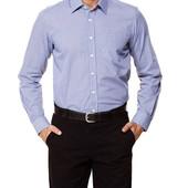 Белая мужская рубашка LC Waikiki Лс Вайкики в синюю клетку с белыми пуговицами