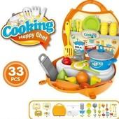 Игровой набор кухня с посудой и продуктами в чемодане 8738B