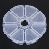 Контейнер органайзер для страз, бисера, камней 8 ячеек круглый (пластик)