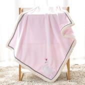 Плед детский флисовый . 75*100 см. Розовый.Лебеди