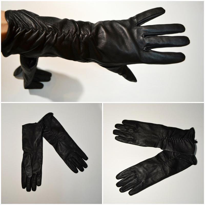 Длинные кожаные перчатки фото №1