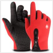 Перчатки ветрозащитные утепленные для сенсорных экранов LXY на замке анти-скольжение красные код 108