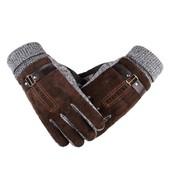 Очень теплые перчатки мужские коричневые код 100