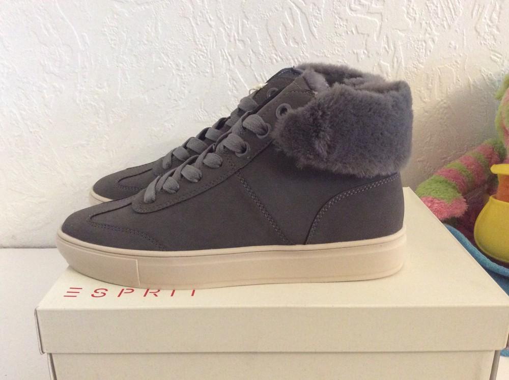 Ботинки кеды esprit colette vegan c искусственным мехом p.38, цвет серый фото №5