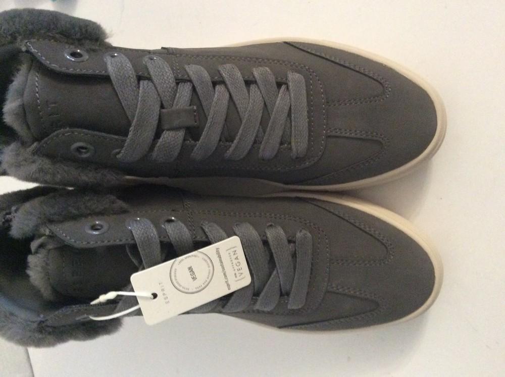 Ботинки кеды esprit colette vegan c искусственным мехом p.38, цвет серый фото №7