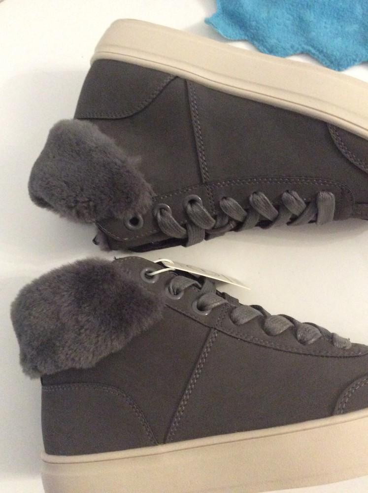 Ботинки кеды esprit colette vegan c искусственным мехом p.38, цвет серый фото №8