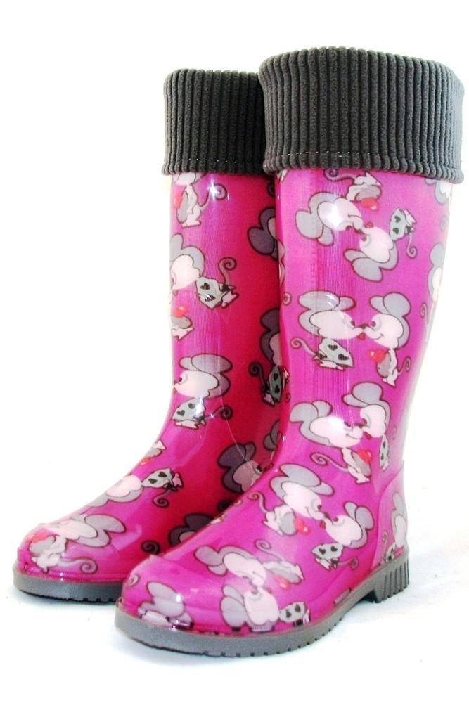 """Женские резиновые сапоги утеплённые съёмный носком """"мышки розовые"""" фото №1"""