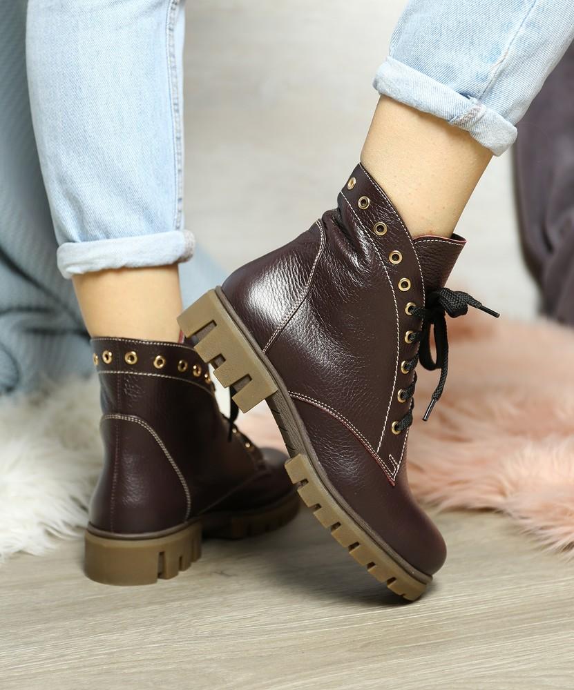 Удобные бордовые кожаные демисезонные ботинки с шнуровкой на низком ходу, ботинки кожа фото №1