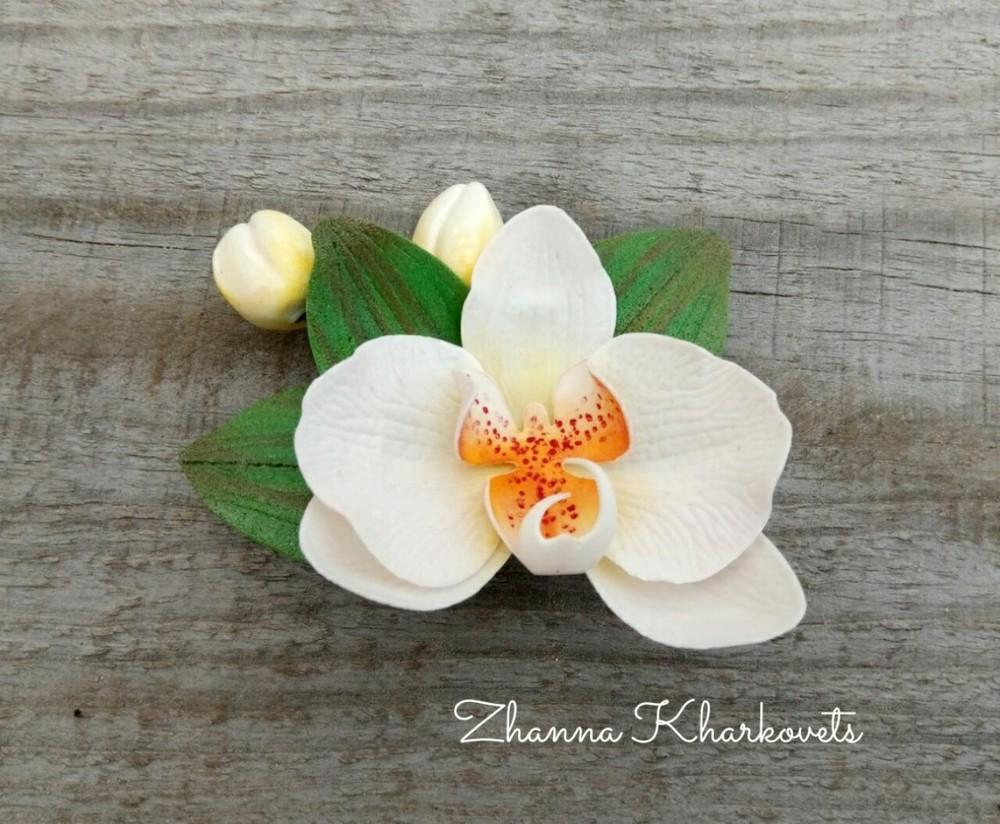 Заколка/брошка орхідея фото №1