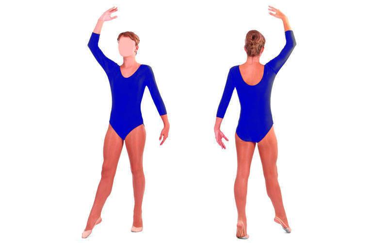 Детский купальник гимнастический с длинным рукавом dr-57: размер 122-128см, синий цвет (бифлекс) фото №1