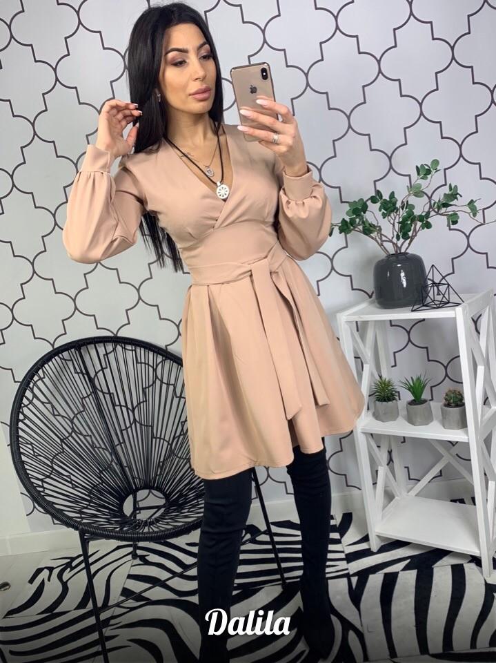 Женское платье с завышенной талией и поясом фото №1