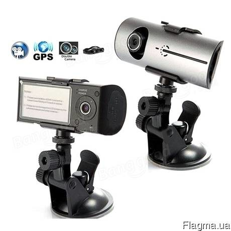 Видеорегистратор dvr r300 2 камеры gps фото №1