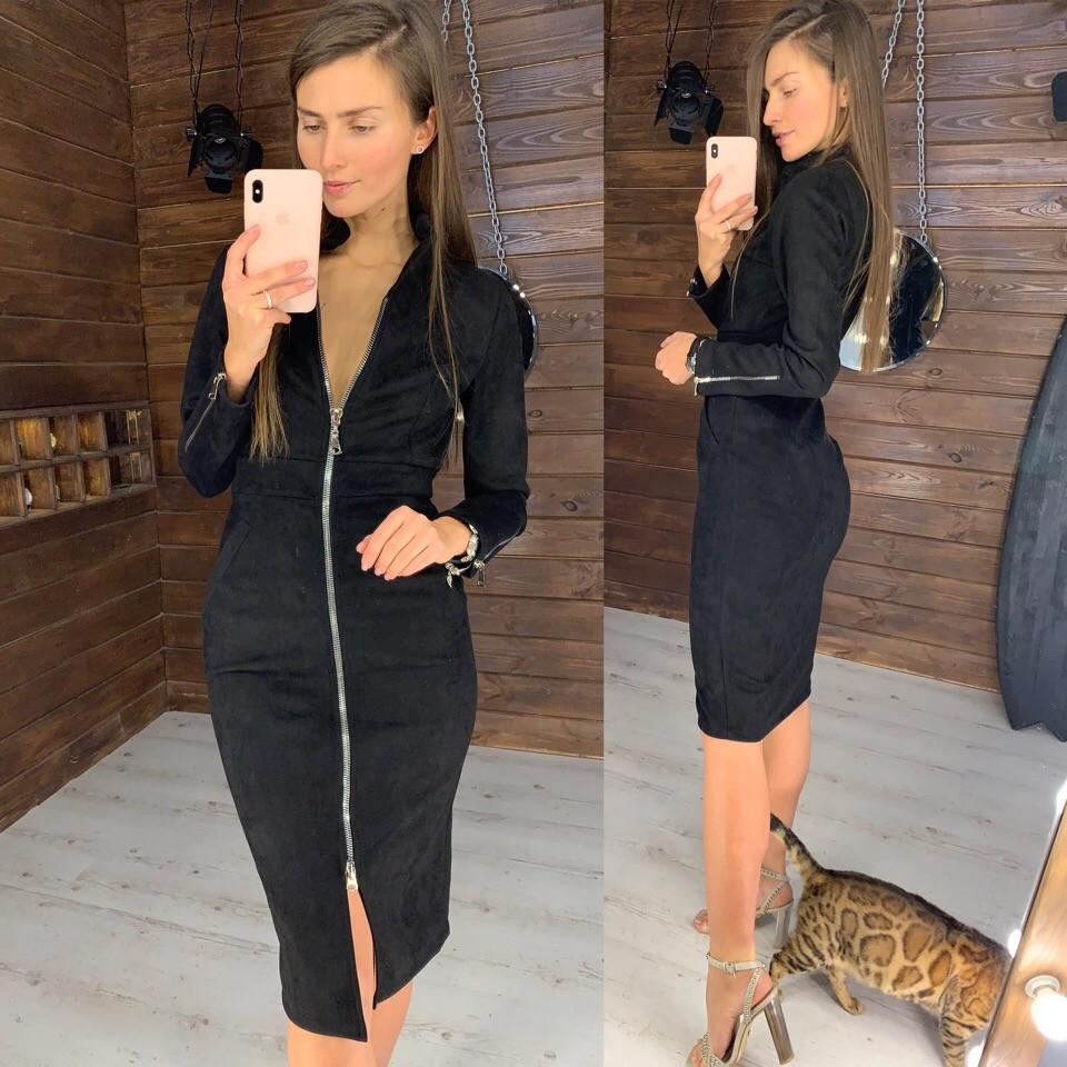 Платье замшевое на молнии фото №1
